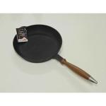 Сковорода-блинница чугунная с деревянной ручкой 220*20 (Ситон)